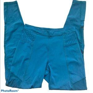 Lululemon Teal Just Breathe pants, mesh panels
